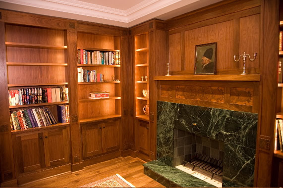 Walnut library and mantel